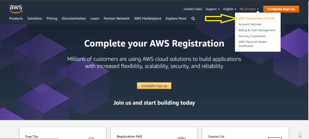 Sign in to install wordpress on  AWS for free