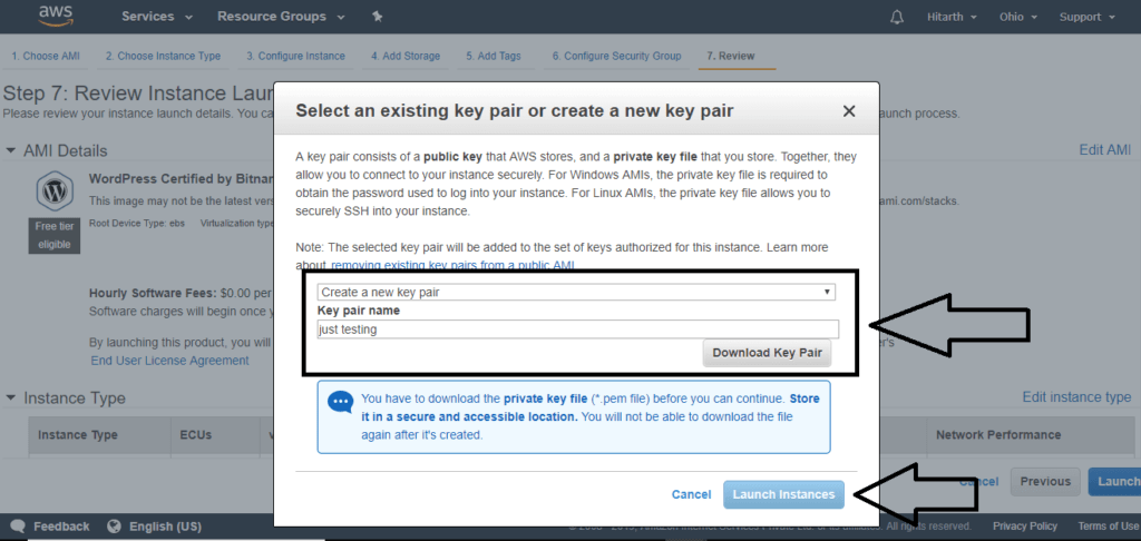 download key pair and launch instance