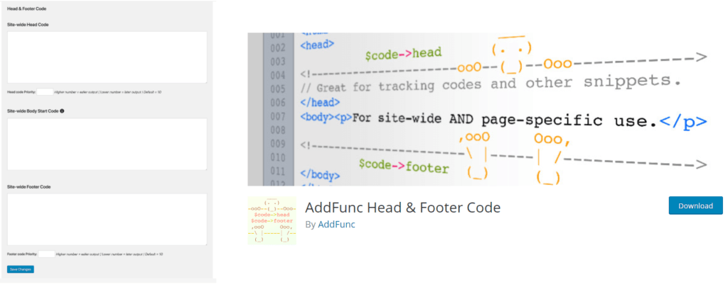 AddFunc Head & Footer Code to track your leads in wordpress sales funnel plugin