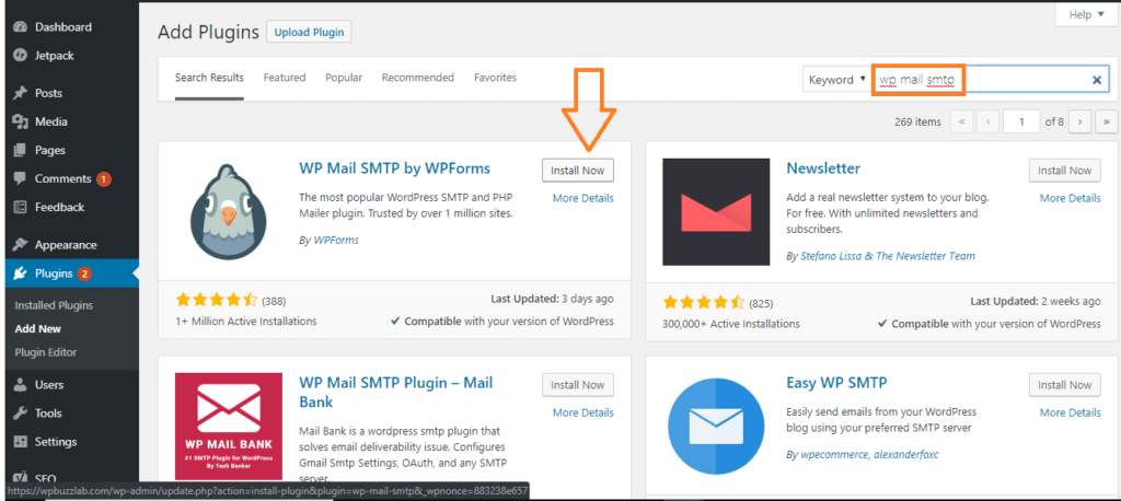 Search for WP Mail SMTP plugin