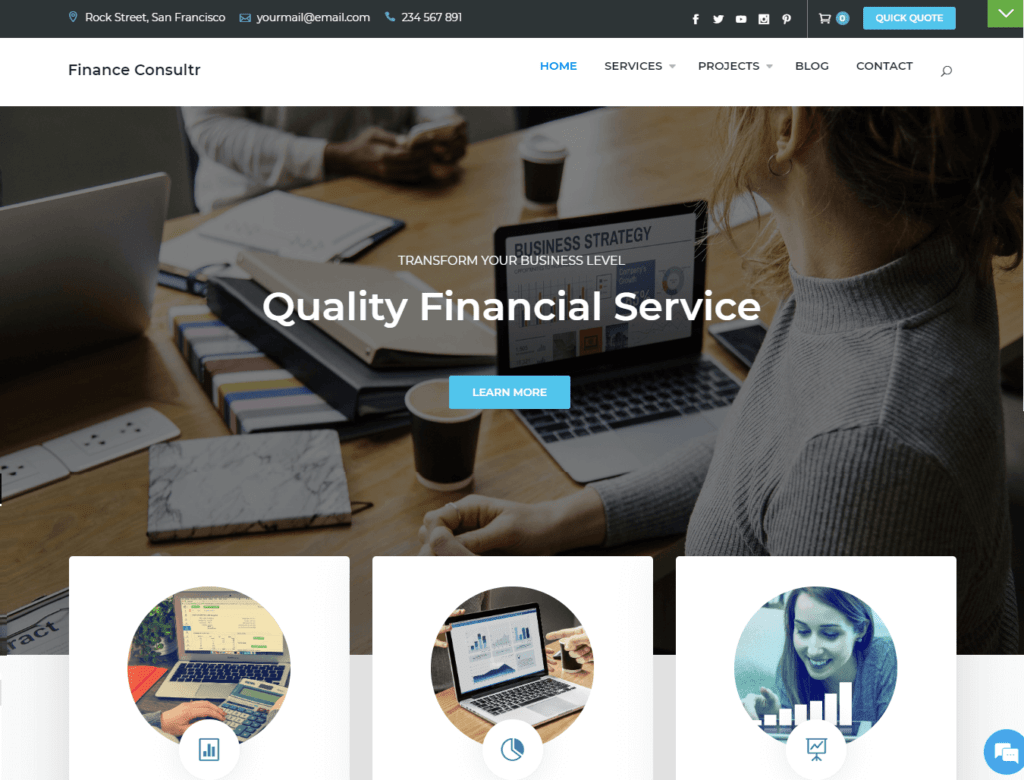 Finance consultr free business wordpress theme