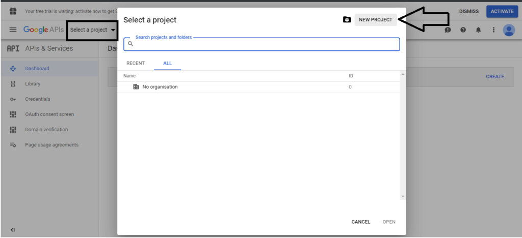 select a project in Google APIs