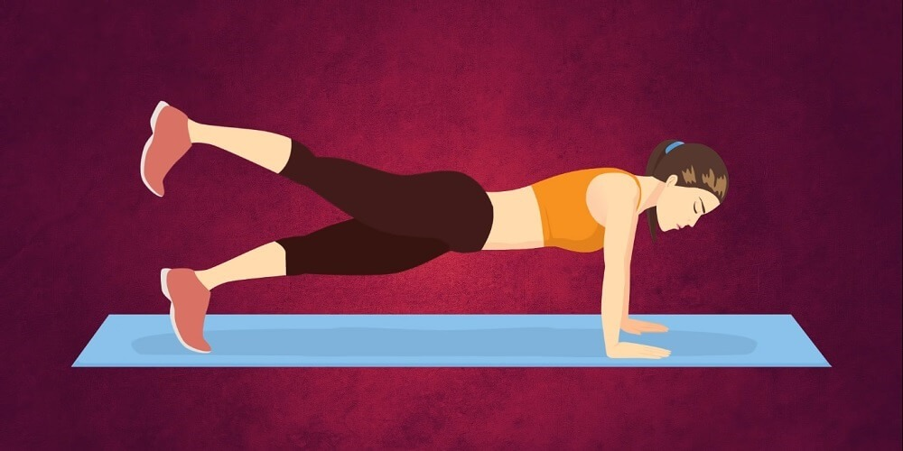 Straight arm plank and raise