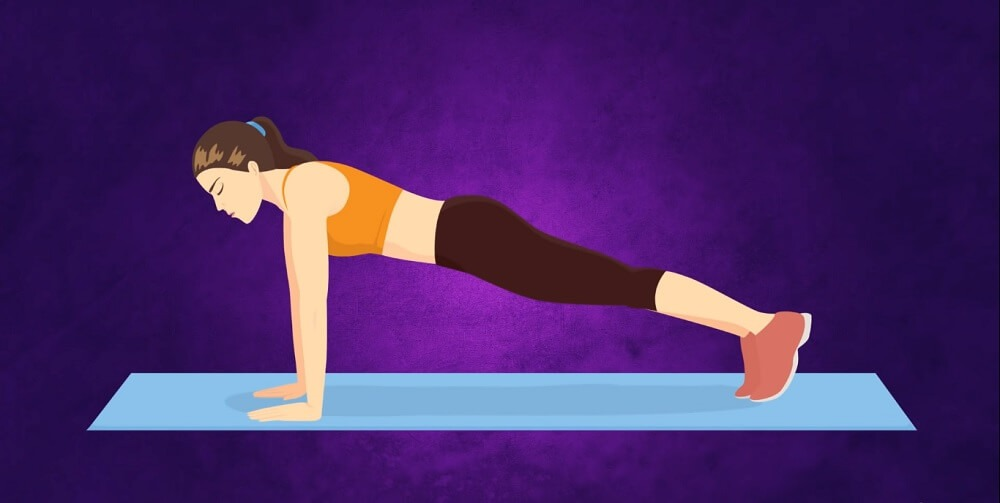 Straight arm plank exercise
