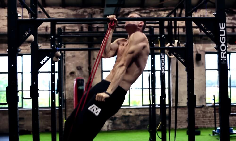 One arm Pull-up with a resistance band